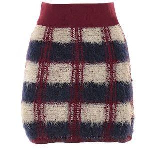 Anthropology JOA Tarten Knit Plaid Skirt XS